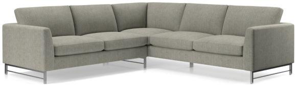 Tyson 2-Piece Left Arm Corner Sofa Sectional with Stainless Steel Base(Left Arm Corner Sofa, Right Arm Sofa) shown in Vail, Storm