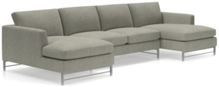 Tyson 3-Piece Chaise Sectional with Stainless Steel Base(Left Arm Chaise, Armless Loveseat, Right Arm Chaise) shown in Vail, Storm