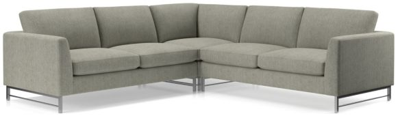 Tyson 3-Piece Left Corner Sectional with Stainless Steel Base(Left Arm Sofa, Left Corner, Right Arm Sofa) shown in Vail, Storm