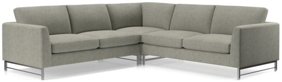 Tyson 3-Piece Right Corner Sectional with Stainless Steel Base(Left Arm Sofa, Right Corner, Right Arm Sofa) shown in Vail, Storm
