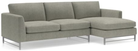 Tyson 2-Piece Right Arm Chaise Sectional with Stainless Steel Base(Left Arm Sofa, Right Arm Chaise) shown in Vail, Storm