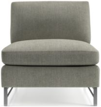 Tyson Armless Chair with Stainless Steel Base shown in Vail, Storm