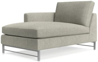 Tyson Left Arm Chaise with Stainless Steel Base shown in Vail, Storm