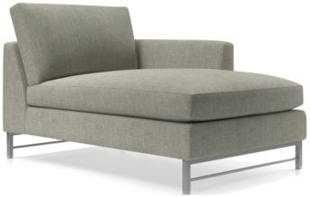 Tyson Right Arm Chaise with Stainless Steel Base shown in Vail, Storm