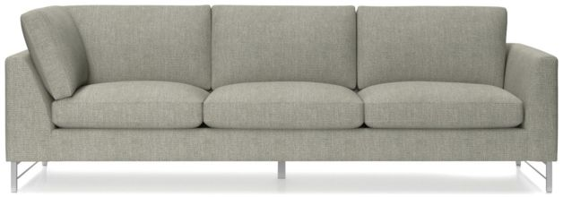 Tyson Right Arm Corner Sofa with Stainless Steel Base shown in Vail, Storm