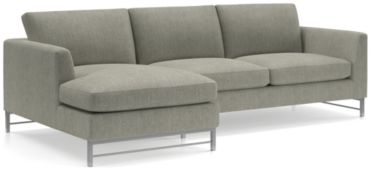 Tyson 2-Piece Left Arm Chaise Sectional with Stainless Steel Base(Left Arm Chaise, Right Arm Sofa) shown in Vail, Storm