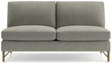 Tyson Armless Loveseat with Brass Base shown in Vail, Storm