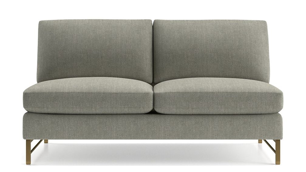 Tyson Armless Loveseat with Brass Base - Image 2 of 6