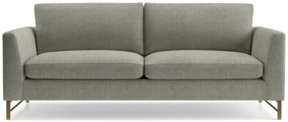 Tyson Sofa with Brass Base shown in Vail, Storm