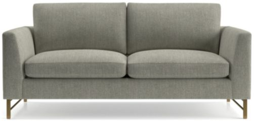 Tyson Apartment Sofa with Brass Base shown in Vail, Storm