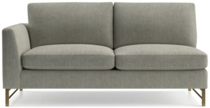 Tyson Left Arm Sofa with Brass Base shown in Vail, Storm