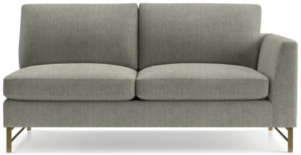 Tyson Right Arm Sofa with Brass Base shown in Vail, Storm