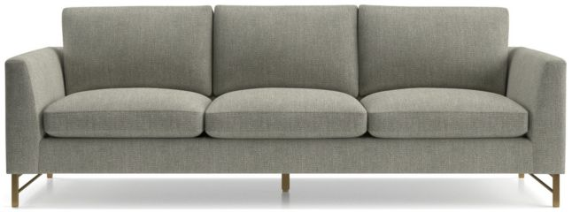 "Tyson 102"" Grande Sofa with Brass Base shown in Vail, Storm"