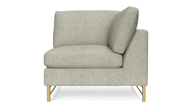 Tyson Right Corner Chair with Brass Base shown in Vail, Storm