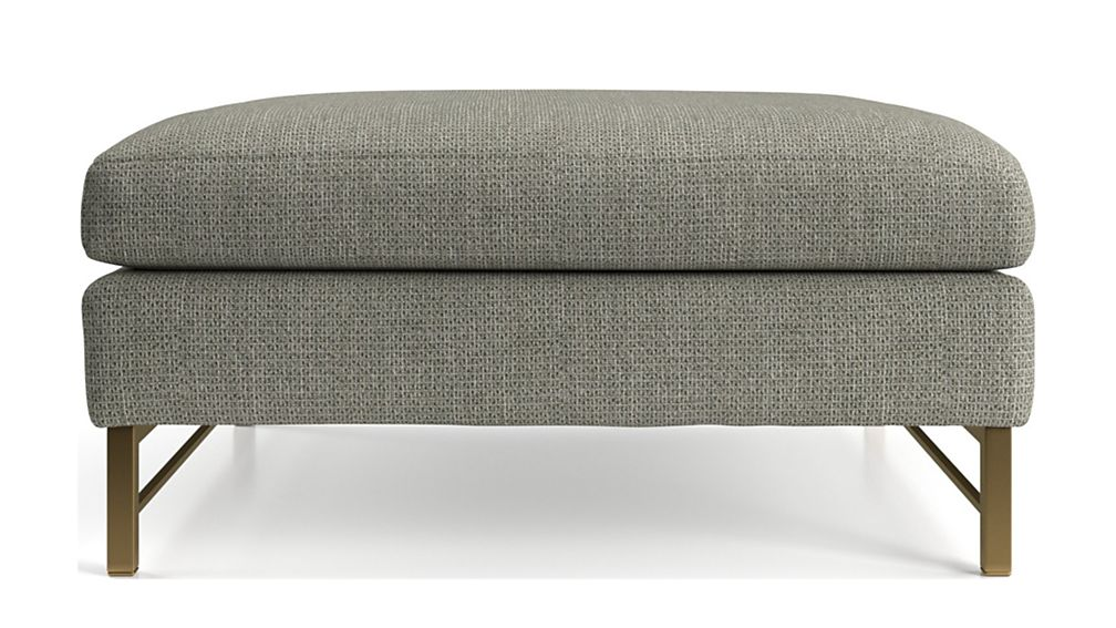 Tyson Square Cocktail Ottoman with Brass Base - Image 2 of 5