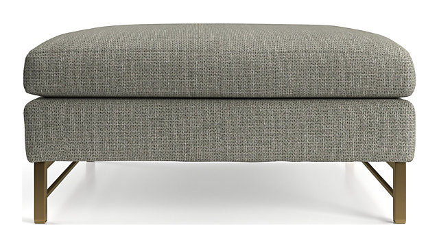 Tyson Square Cocktail Ottoman with Brass Base shown in Vail, Storm