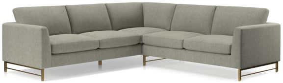 Tyson 2-Piece Right Arm Corner Sofa Sectional with Brass Base(Left Arm Sofa, Right Arm Corner Sofa) shown in Vail, Storm