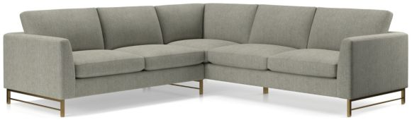 Tyson 2-Piece Left Arm Corner Sofa Sectional with Brass Base(Left Arm Corner Sofa, Right Arm Sofa) shown in Vail, Storm