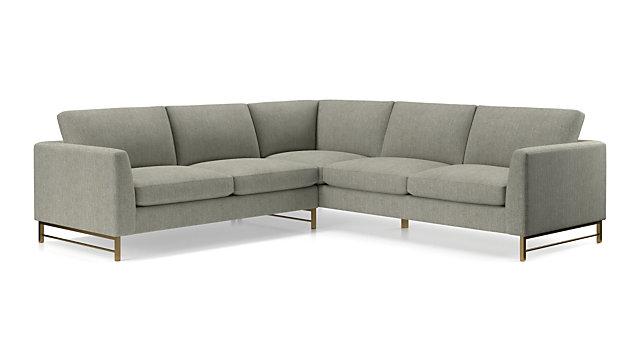 Tyson 2-Piece Left Arm Corner Sofa Sectional with Brass Base + ...