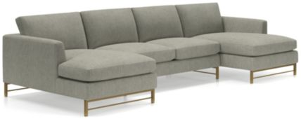 Tyson 3-Piece Chaise Sectional with Brass Base(Left Arm Chaise, Armless Loveseat, Right Arm Chaise) shown in Vail, Storm
