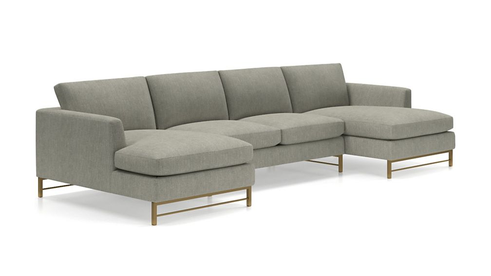 Tyson 3-Piece Chaise Sectional with Brass Base - Image 2 of 3