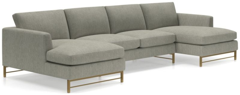 TAP TO ZOOM Tyson 3 Piece Chaise Sectional With Brass Base(Left Arm Chaise,  Armless Loveseat