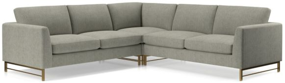Tyson 3-Piece Left Corner Sectional with Brass Base(Left Arm Sofa, Left Corner, Right Arm Sofa) shown in Vail, Storm