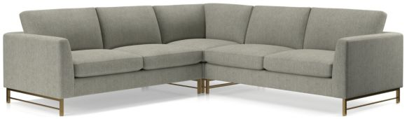 Tyson 3-Piece Right Corner Sectional with Brass Base(Left Arm Sofa, Right Corner, Right Arm Sofa) shown in Vail, Storm