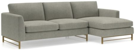 Tyson 2-Piece Right Arm Chaise Sectional with Brass Base(Left Arm Sofa, Right Arm Chaise) shown in Vail, Storm
