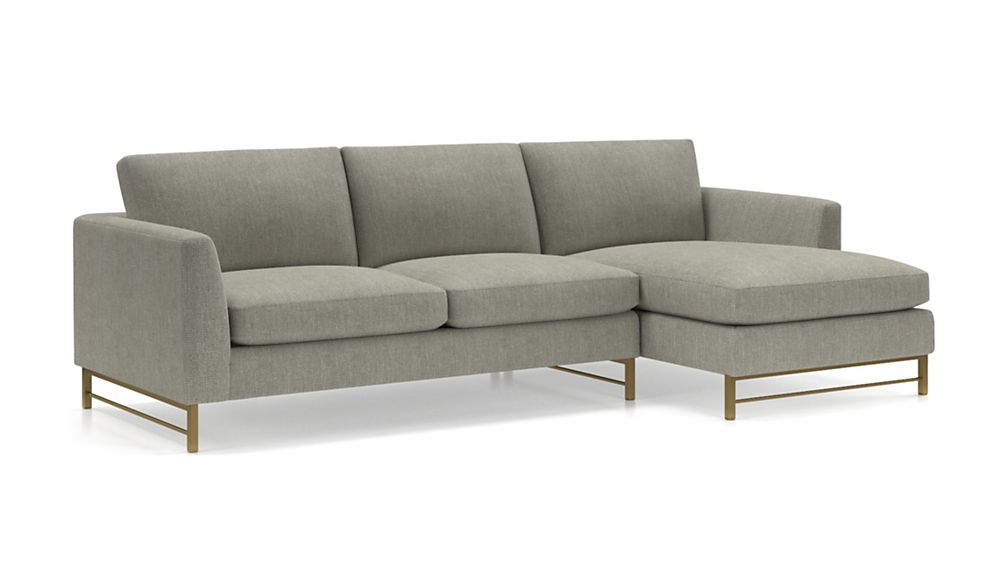 Tyson 2-Piece Right Arm Chaise Sectional with Brass Base - Image 2 of 3