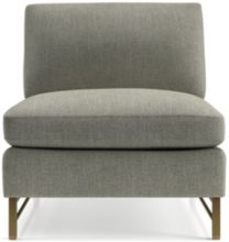 Tyson Armless Chair with Brass Base shown in Vail, Storm