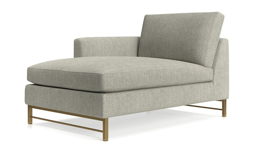 Tyson Left Arm Chaise with Brass Base - Image 2 of 4