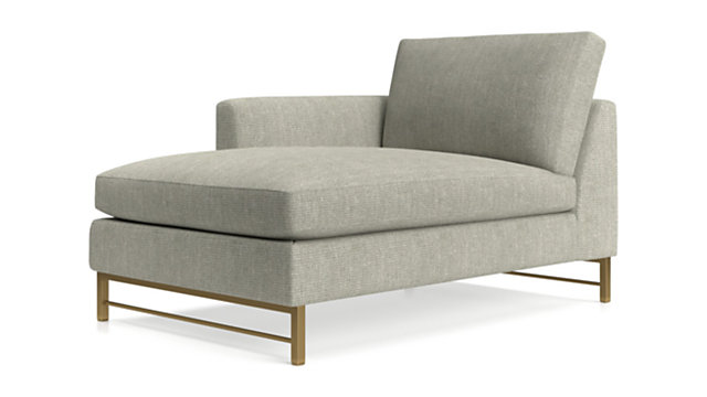 Tyson Left Arm Chaise with Brass Base shown in Vail, Storm