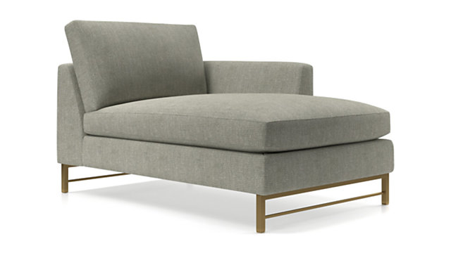 Tyson Right Arm Chaise with Brass Base shown in Vail, Storm