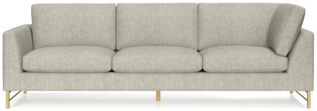 Tyson Left Arm Corner Sofa with Brass Base shown in Vail, Storm