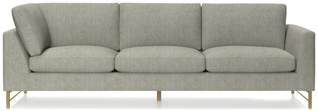 Tyson Right Arm Corner Sofa with Brass Base shown in Vail, Storm