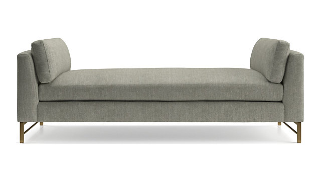 Tyson Daybed with Brass Base shown in Vail, Storm