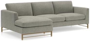Tyson 2-Piece Left Arm Chaise Sectional with Brass Base(Left Arm Chaise, Right Arm Sofa) shown in Vail, Storm