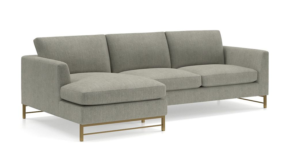 Tyson 2-Piece Left Arm Chaise Sectional with Brass Base - Image 2 of 3