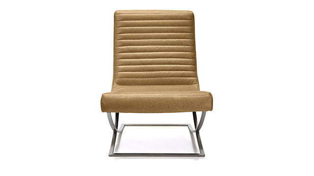 Cooper Armless Leather Chair shown in Tampa, Fawn