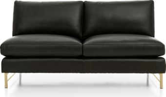 Tyson Leather Armless Loveseat with Brass Base shown in Logan, Smoke