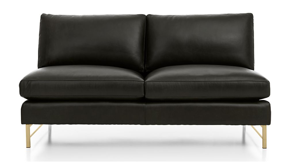 Tyson Leather Armless Loveseat with Brass Base - Image 2 of 5