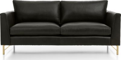 Tyson Leather Apartment Sofa with Brass Base shown in Logan, Smoke