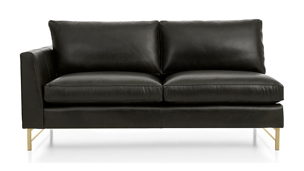 Tyson Leather Left Arm Apartment Sofa with Brass Base - Image 2 of 5