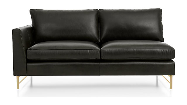 Tyson Leather Left Arm Apartment Sofa with Brass Base shown in Logan, Smoke