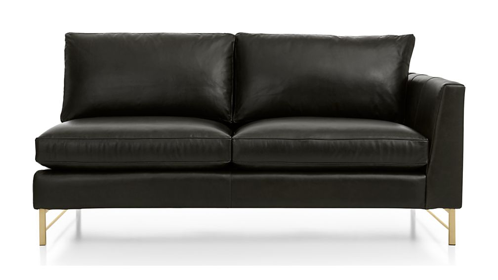 Tyson Leather Right Arm Apartment Sofa with Brass Base - Image 2 of 5