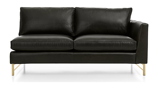 Tyson Leather Right Arm Apartment Sofa with Brass Base shown in Logan, Smoke
