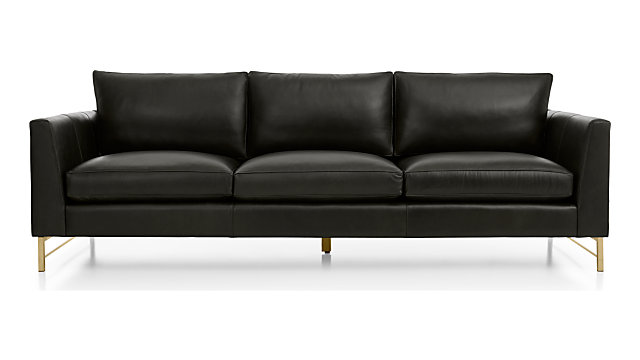 "Tyson Leather 102"" Grande Sofa with Brass Base shown in Logan, Smoke"