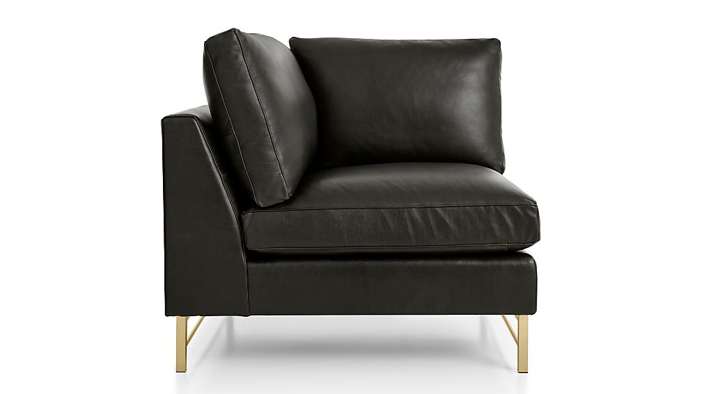 Tyson Leather Left Corner Chair with Brass Base - Image 2 of 4