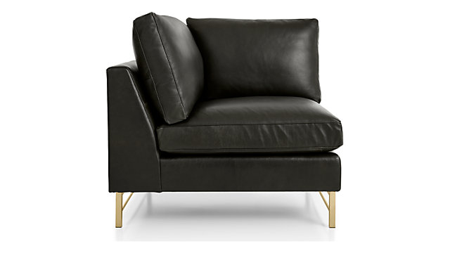 Tyson Leather Left Corner Chair with Brass Base shown in Logan, Smoke